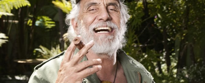Tommy Chong, lighting up in uniform. (Photo: Neil Visel)